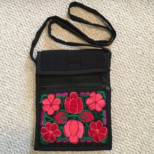 Black with bright floral embroidered women's purse